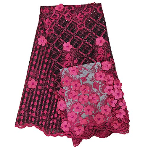 Milylace 3D Flower African Lace Fabric 5 Yards Nigerian French Tulle Lace Fabric with Beads and Stones for Wedding Dresses ()