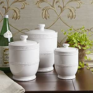 white kitchen canisters sets amazon com milford 3 piece ceramic canister set white kitchen dining 1821