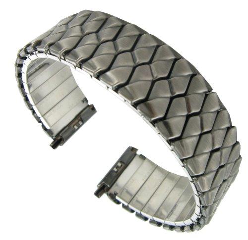 17-22mm Speidel Twist-O-Flex Dark Grey Brass Stainless Steel Watch Band 1281/04