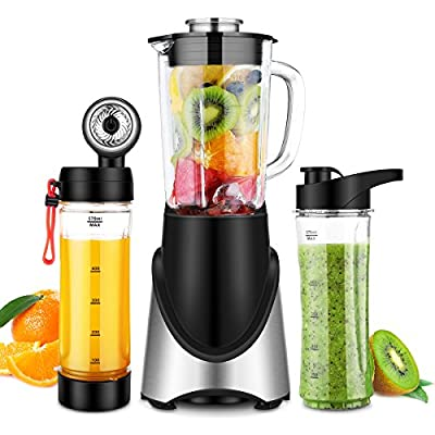 3 in 1 Personal Blender Vacuum for Smoothies Shakes, Powerful 300W(24,000RMP) 6 Sharp Blades, Small Blender Single Serve with 21 oz Glass Jar & Two 20 oz Bottles, Black