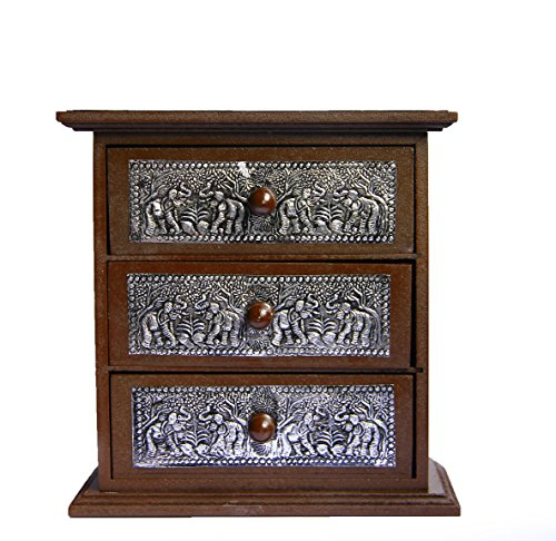 Handcraft Vintage Elephant Jewerry Boxs Wood Storage Cabinet 3 Drawer Teak Organizer Decor Aluminium Elephant For Holding Small Jewelry Rings & Necklaces