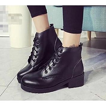 HSXZ Zapatos de mujer PU primavera otoño comodidad moda zapatos botas botas de tacón plano Ronda Toe botines/botines de amarre cinta negra casual: ...