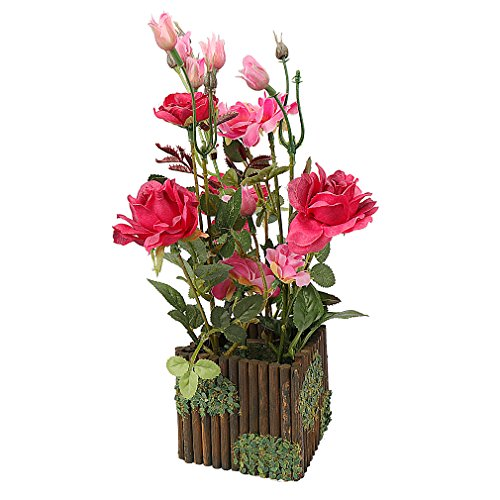 RERXN Artificial Flower with Wooden Fence Pot Silk Potted Rose Arrangement for Home and Wedding Decor (Red)