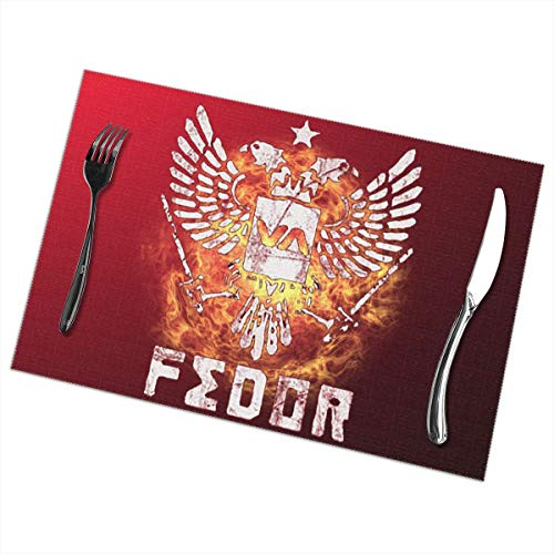 Teenagerghlovexc Placemats Set of 6: Fedor Emelianenko Fighter - Non-Slip Insulation Table Placemat Washable -