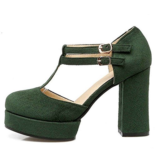 SJJH Court Shoes with T-Straps and Chunky Heel with Plus Green 3AlqqTEX