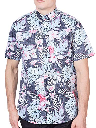 Mens Hawaiian Shirt Short Sleeve Button Down Shirts - Grey Floral - M