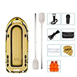 Inflatable Rubber Boat, River Fishing Boat for 5 People, with 2 Aluminium Oars and Foot Pump, Max Load 415 kg
