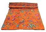 Bird Print Twin Size Kantha Quilt Orange , Kantha Blanket, Bed Cover, Twin Kantha bedspread, Bohemian Bedding Kantha Size 60 Inch x 90 Inch