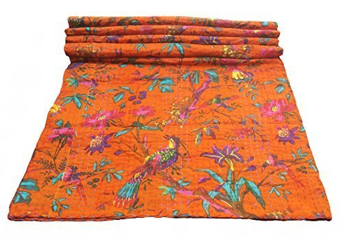 Bird Print Twin Size Kantha Quilt Orange , Kantha Blanket, Bed Cover, Twin Kantha bedspread, Bohemian Bedding Kantha Size 60 Inch x 90 Inch