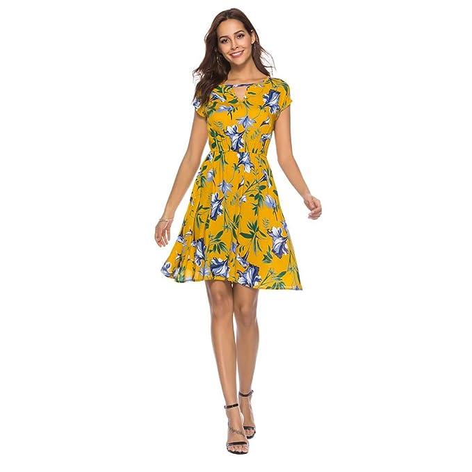 Wyfeay Aoteman Casual Summer Dress Women Short Sleeve Print