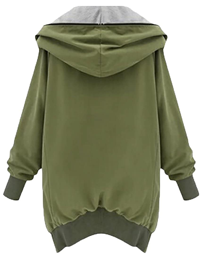 KXP Womens Hoodie Jacket Full Zip Pocket Casual Trench Coats Army Green X-Large