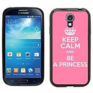 Samsung Galaxy S4 SIIII Black Rubber Silicone Case - Keep Calm and Be a Princess Pink Cute WANGJING JINDA