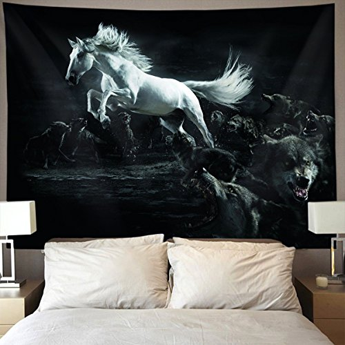 HOMESTORES dark white running wild horse wolves Wall Tapestry Hippie Art Tapestry Wall Hanging Home Decor Extra large tablecloths 60x90 inches For Bedroom Living Room Dorm Room