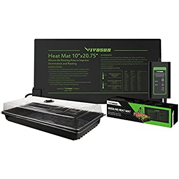 "VIVOSUN 10""x 20"" Germination Kits with Seedling Heat Mat and Digital Thermostat MET Standard"