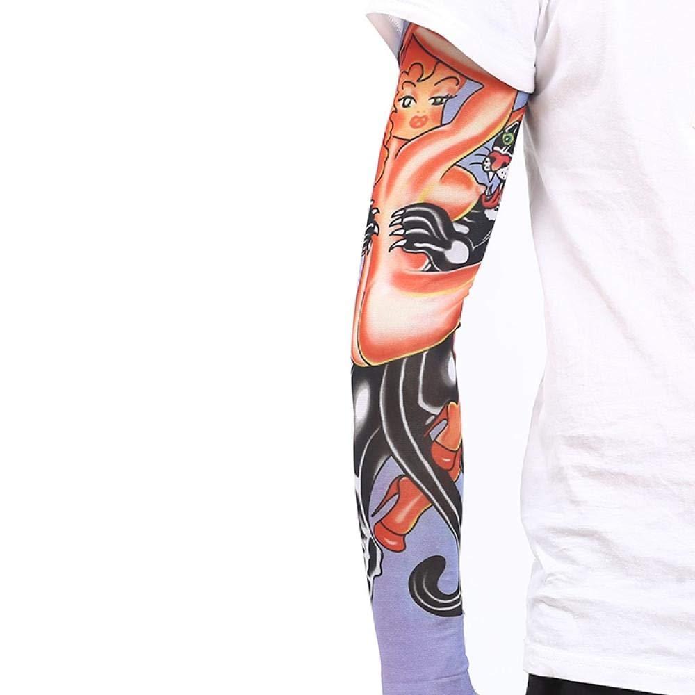Ffooxxii Tattoo Sleeve Flower Arm Tattoo Summer Ice Silk Sun Visor Gloves Sleeve Men Long Ride Run Men Ice Sleeve Women@One size_11 models 2