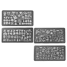 Elisona-4 PCS DIY Steel Plate Nail Art Design Stamping Manicure Image Print Plates Stencil Template Nail Polish Tool for Halloween Party Nightclub