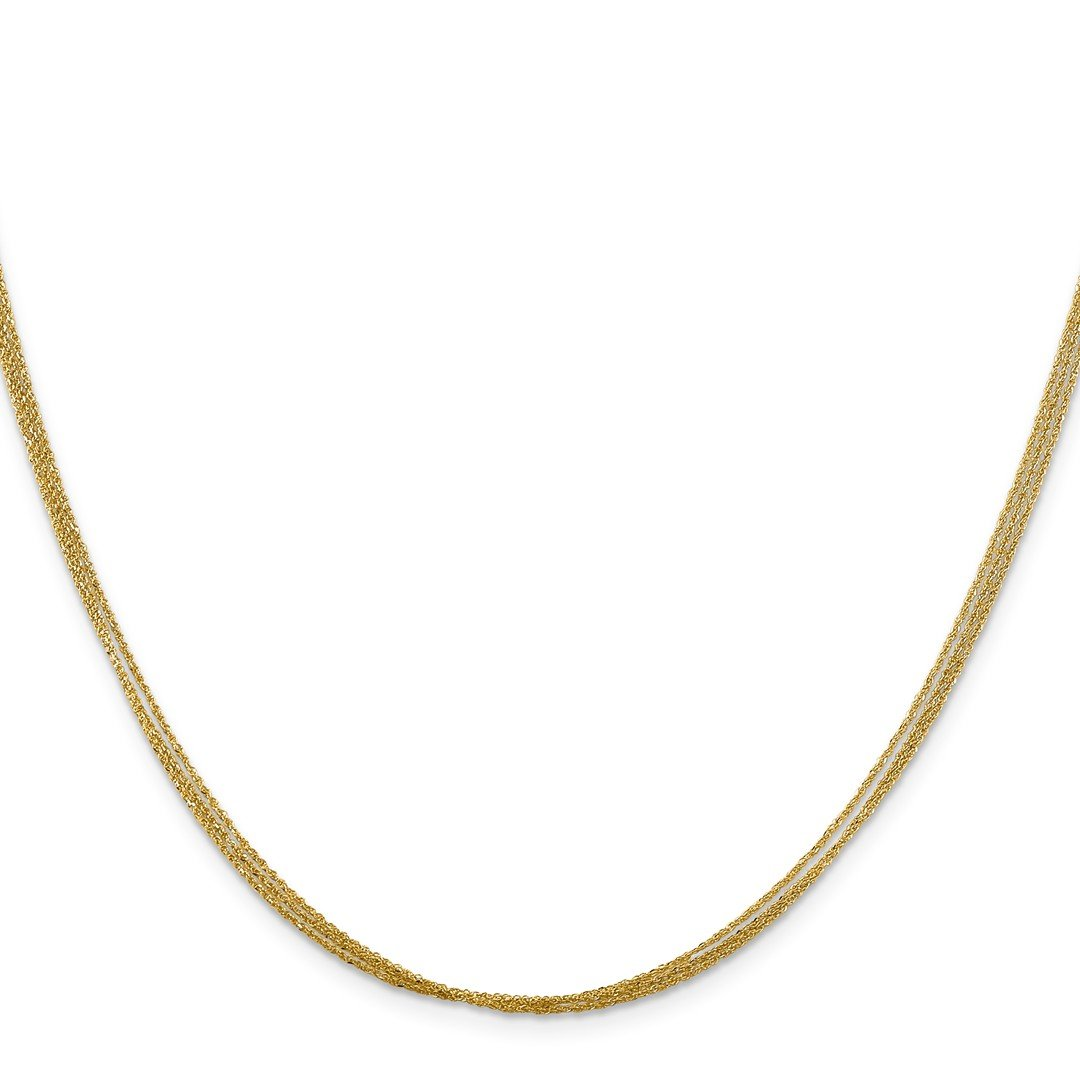 ICE CARATS 14k Yellow Gold .75 Mm Triple Strand Ropa Chain Necklace 16 Inch Rope Str Fine Jewelry Ideal Mothers Day Gifts For Mom Women Gift Set From Heart