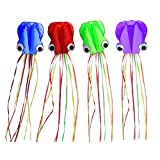 """Set of 4 Large 157.5"""" High Cartoon Big Round Eyes Octopus Kites with Colorful Ribbon and Kite Board with 98.4 Foot String for Kids Toy Enjoy Parent-Child Time Beach Park Outdoor"""