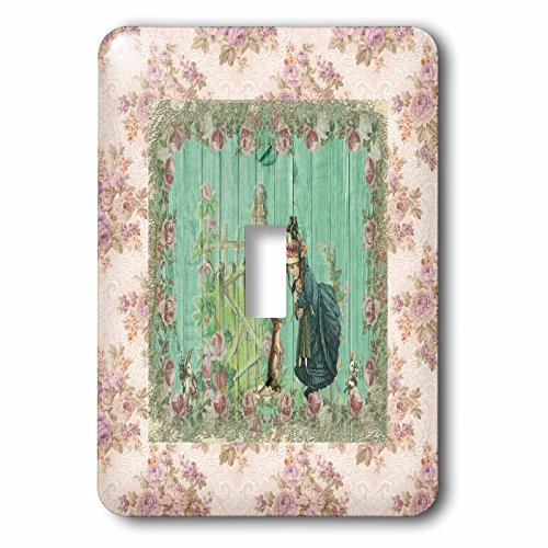3dRose Beverly Turner Easter Design and Photography - Vintage Bunnies Meeting Little Girl Holding Doll, Rose Frame - Light Switch Covers - single toggle switch (lsp_276177_1)