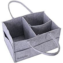 Baby Diaper Caddy - Nursery Storage Bin and Portable Car Organizer Basket for Diapers, Baby Wipes, Kid Toys (Grey)