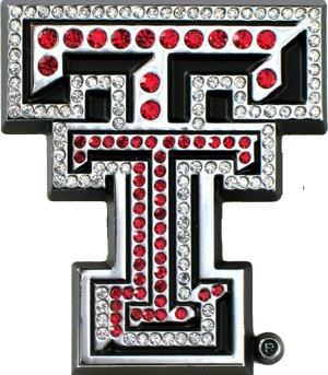 Texas Tech Red Raiders Premium Chrome Metal Auto Emblem with Crystals