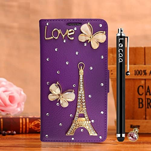 Locaa(TM) For Samsung Galaxy S7 Edge S7Edge 3D Bling Case + Stylus + Phone plug Luxury Girl Cute Rhinestone Beautiful Leather Cover [Color Series 2] Purple Sales