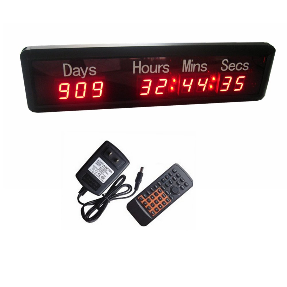 AZOOU 1-inch 9Digits LED Event Timer Countdown/up Clock with Days Hours Mins Secs Max Up to 1000 Days Red Color by AZOOU