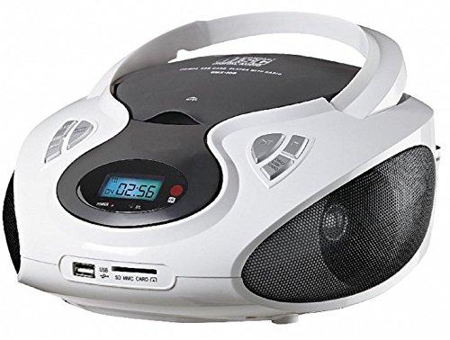 Tragbarer CD MP3 Player USB SD-Card Radio Tragbares Kinder CD-Radio Boombox (Weiß)