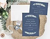 Rustic Wedding Invitation, Slate Blue Wedding Invitation, Organic Leafy Wedding Invitation
