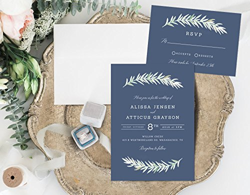 Rustic Wedding Invitation, Slate Blue Wedding Invitation, Organic Leafy Wedding Invitation by Alexa Nelson Prints
