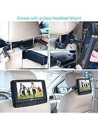 """9"""" doble visualización reproductor de DVD portátil con reposacabezas de coche soportes de montaje, 5 horas batería recargable integrada, color negro"""