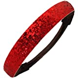Red Glitter Headband by Kenz Laurenz - Elastic Stretch Sparkly Headbands for Teens Girls Women Softball Volleyball Basketball Sport Teams Set Pack Store