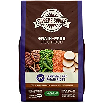 Supreme Source Premium Dry Dog Food Grain Free, USDA Organic Seaweed, Protein, Lamb Meal & Potato Recipe for All Life Stages. Made in The USA. (5lb)
