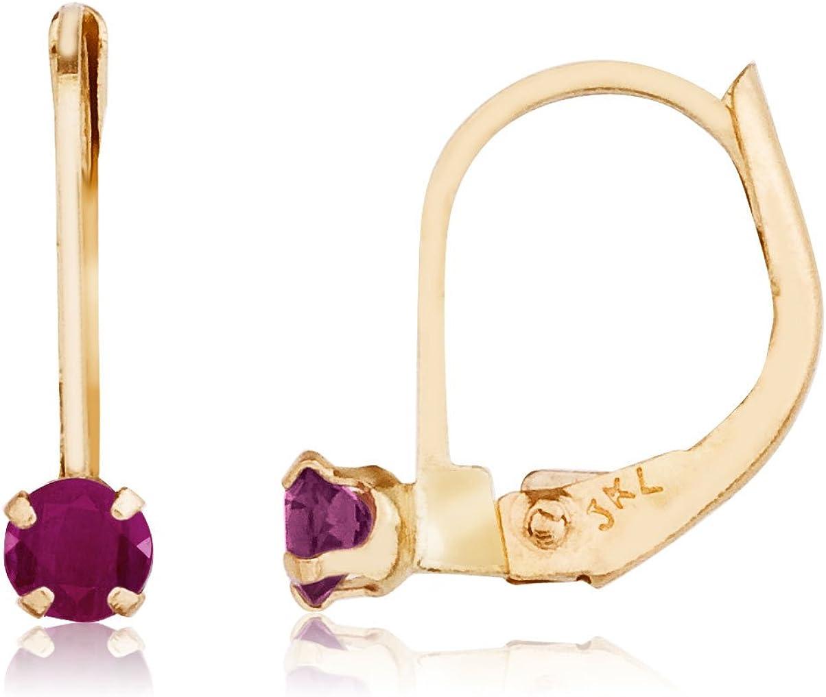 14k Yellow Gold Petite Ruby Leverback Earrings