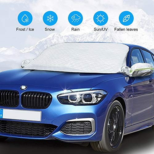 QUEES Car Windshield Sun Shade Snow Cover Ice Frost Cover for Windscreen Car Sunshades with Magnetic Edges Thicker 4 Layers Waterproof Guard Covers