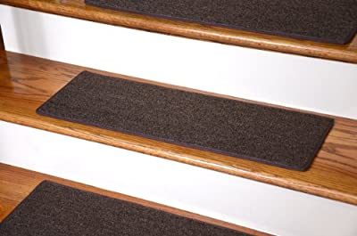 "Dean Non-Slip Tape Free Pet Friendly DIY Carpet Stair Treads/Rugs 27"" x 9"" (15) - Color: Brown"