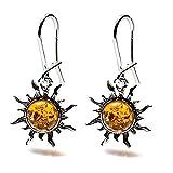 Light Amber Sterling Silver Sun Earrings