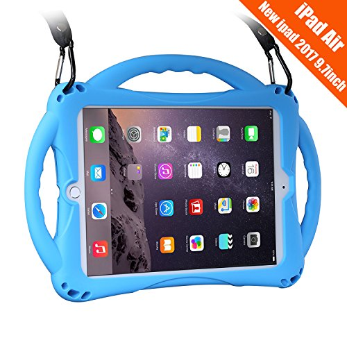 New iPad 2017/2018 9.7 inch Case/iPad Air Case, TopEsct Shockproof Silicone Handle Stand Case Cover&(Tempered Glass Screen Protector) For Apple New iPad 9.7inch(2017/2018 Version) and iPad Air(Blue) (Best Kid Proof Ipad Case)