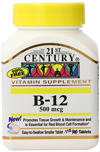 21st Century B-12 500 mcg Tablets, 110-Count (Pack of 3) (Tablets 110 Count Pack)