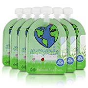 Healthy Planet Solutions Clear Plastic Reusable Baby Food Storage Pouch - Washable Freezable Refillable Resealable - Double Leak Proof Zipper - Great for Kids and DIY Homemade Organic Puree - 3.5 oz
