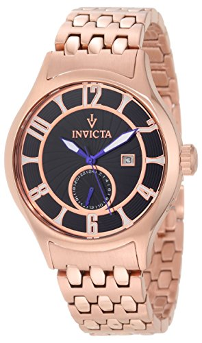 Invicta Men's 12233 Vintage Black Patterned Dial 18k Rose Gold Ion-Plated Stainless Steel Watch