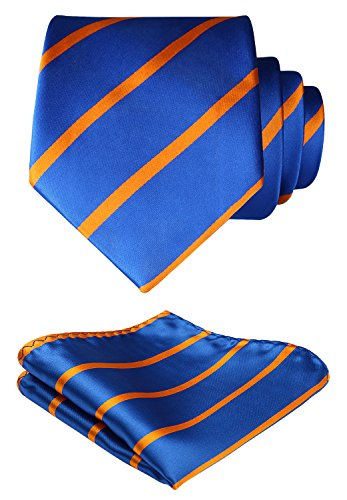 HISDERN Striped Wedding Tie Handkerchief Woven Classic Men's Necktie & Pocket Square Set Orange & Blue