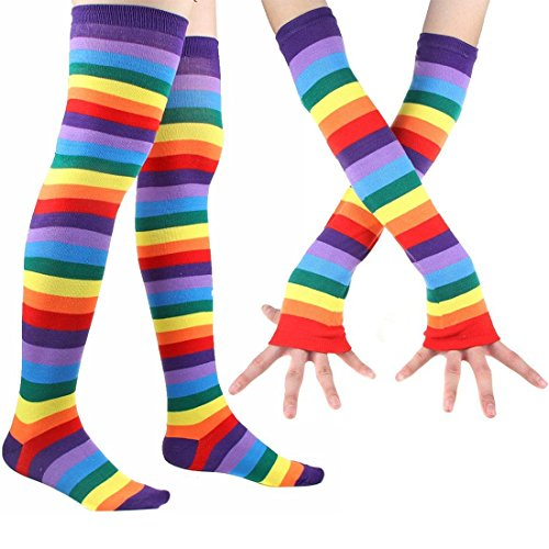Rainbow Stripe Long Socks Gloves Set - 2 Pairs Accessories Set Colorful Knit Cute Party For Women ()