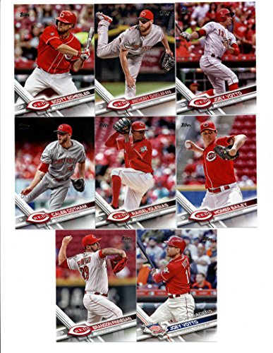 2017 Topps Cincinnati Reds Complete Master Team Set of 35 Cards (Series 1, 2, Update) with Brandon Finnegan(#85), Joey Votto(#110), Adam Duvall(#128), Raisel Iglesias(#185), Caleb Cotham(#188), Homer Bailey(#200), Tucker Barnhart(#253), Joey Votto(#288), Anthony DeSclafani(#297), Scott Schebler(#310), Michael Lorenzen(#386), Drew Storen(#395), Zack Cozart(#414), Eugenio Suarez(#473), Jose Peraza(#506), Devin Mesoraco(#511), Amir Garrett(#539), Billy Hamilton(#540), plus more