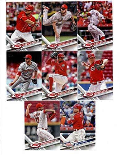 2017 Topps Cincinnati Reds Complete Master Team Set of 35 Cards (Series 1, 2, Update) with Brandon Finnegan(#85), Joey Votto(#110), Adam Duvall(#128), Raisel Iglesias(#185), Caleb Cotham(#188), Homer Bailey(#200), Tucker Barnhart(#253), Joey Votto(#288), Anthony DeSclafani(#297), Scott Schebler(#310), Michael Lorenzen(#386), Drew Storen(#395), Zack Cozart(#414), Eugenio Suarez(#473), Jose Peraza(#506), Devin Mesoraco(#511), Amir Garrett(#539), Billy Hamilton(#540), plus more