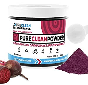 PureClean Powder -100% USA Grown Organic Beet Juice Powder (Jar 300G) Nitric Oxide Booster -No Fillers, Sweeteners, Additives. Non-GMO Nitrate Beet Root Powder. Organic Super Beets Energy Powder Supp