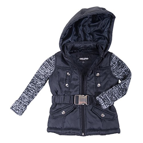 [[39786-TypicalBlack-7/8] Girl's Padded Jacket: Sweater Sleeves Coat with Hood] (Viking Outfits For Adults)