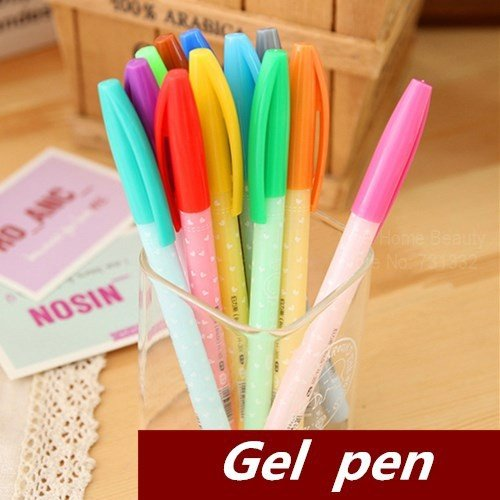 Candy Color Gel Pen Black Ink Kawaii Stationary Cute Pens for Writing Caneta Office Supplies Material
