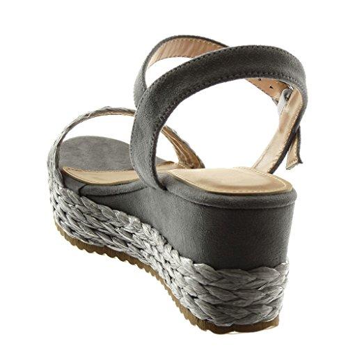 Angkorly Zapatillas Moda Sandalias Mules Correa de Tobillo Bimaterial Mujer con Paja Trenzado Hebilla Plataforma 6.5 cm Gris
