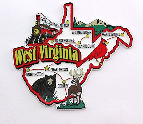 West Virginia State Map and Landmarks Collage Fridge Collectible Souvenir Magnet - Virginia Landmark